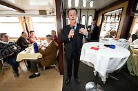 """27 MAR 2009, BITTERFELD/GERMANY:<br /> Franz Muentefering, SPD Parteivorsitzender, haelt eine Rede  zum Thema """"Soziales Engagement"""", waehrend einer See-Rundfahrt mit dem Ausflugsschiff MS Vineta<br /> IMAGE: 20090327-01-033<br /> KEYWORDS: Franz Müntefering, Rede, sppeech"""