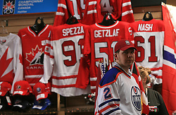 Selling souvenirs at ice-hockey  IIHF WC 2008 in Halifax, on May 12, 2008 in Metro Center, Halifax, Nova Scotia, Canada.  (Photo by Vid Ponikvar / Sportal Images)