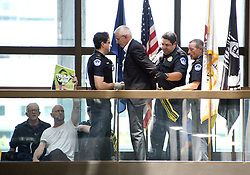 June 28, 2017 - Washington, District of Columbia, United States of America - United States Capitol Police arrest protestors chanting ''Healthcare is a right'' outside the office of United States Senator Lisa Murkowski (Republican of Alaska) in the Hart Senate Office Building in Washington, DC on Wednesday, June 28, 2017..Credit: Ron Sachs / CNP (Credit Image: © Ron Sachs/CNP via ZUMA Wire)
