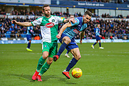 Plymouth Argyle midfielder David Fox (8) battles with Wycombe Wanderers midfielder Matthew Bloomfield(10) during the EFL Sky Bet League 1 match between Wycombe Wanderers and Plymouth Argyle at Adams Park, High Wycombe, England on 26 January 2019.