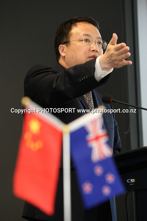 Shui Yong speaks at the Signing of Agreement between Auckland Tourism, Events and Economic Development and the Beijing Investment Promotion Board, Auckland, New Zealand. Saturday 12th May 2012. Photo: Wayne Drought / photosport.co.nz