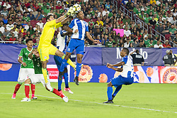 July 20, 2017 - Glendale, Arizona, U.S - Mexico's goalie JESUS CORONA (1) saves the ball against Honduras's OVIDIO LANZA (16) Thursday, July 20, 2017, during the 2017 Gold Cup Quarterfinals at University of Phoenix Stadium in Glendale, Arizona.  Mexico won 1-0 against Honduras to advance to the 2017 Gold Cup Semifinals. (Credit Image: © Jeff Brown via ZUMA Wire)
