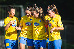 Players of ZNK Pomurje celebrating their second goal during football match between ZNK Pomurje and FC Nike in 2nd Round of UWCL qualifying 2019/20, on Avgust 10, 2019 in Sportni Park Beltinci, Beltinci, Slovenia. Photo by Blaž Weindorfer / Sportida