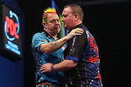 Peter Wright beats Glen Durrant to reach the final during the Grand Slam of Darts, at Aldersley Leisure Village, Wolverhampton, United Kingdom on 17 November 2019.