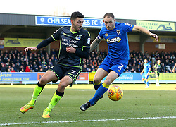 Liam Sercombe of Bristol Rovers takes on Barry Fuller of AFC Wimbledon - Mandatory by-line: Robbie Stephenson/JMP - 17/02/2018 - FOOTBALL - Cherry Red Records Stadium - Kingston upon Thames, England - AFC Wimbledon v Bristol Rovers - Sky Bet League One