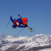 Chris Laker, USA,  in action in the Slopestyle Finals during The North Face Freeski Open at Snow Park, Wanaka, New Zealand, 2nd September 2011. Photo Tim Clayton..