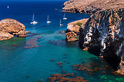 Sailboats at Scorpion Cove, Santa Cruz Island, Channel Islands National Park, California