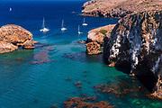 Sailboats at Scorpion Cove, Santa Cruz Island, Channel Islands National Park, California