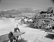 "Ackroyd 03991-1. ""Indians fishing at Celilo Falls. September 13, 1952"""