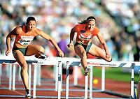 Friidrett ,  11. juni 2015 , Diamond League , Bislett Games , Oslo<br />  Atheltics<br /> 100 m hekk<br /> Alina Talay , BLR<br /> Isabelle Pedersen , NOR