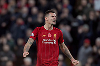 Football - 2019 / 2020 Premier League - Liverpool vs. Manchester City<br /> <br /> Dejan Lovren of Liverpool celebrates the result at full time, at Anfield.<br /> <br /> COLORSPORT/PAUL GREENWOOD