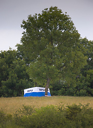 © Licensed to Londo Pictures. 08/06/2020. London, UK. A forensics tent is located under a tree at Fryent Country Park near Wembley, north London. According to reports, two women were found unresponsive and were pronounced dead at the scene yesterday. Photo credit: Peter Macdiarmid/LNP