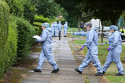 © Licensed to London News Pictures. 05/08/2019. London, UK. Forensic officers enter no 46 Waltheof Gardens in Tottenham, north London following a death of a woman. Police were called around 10:45 am on 4 August 2019 where the body of an 89-year-old woman was found. According to the police one or more suspects gained entry to the woman's house between Saturday (3 August) evening and Sunday (4 August) morning. Photo credit: Dinendra Haria/LNP