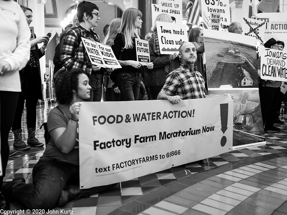 23 JANUARY 2020 - DES MOINES, IOWA: People rally in the Iowa State Capitol against factory farming. About 75 people, including farmers, environmental activists, and supporters of family farms, came to a protest in the rotunda of the state capitol in Des Moines. They are trying to pressure Iowa lawmakers to pass a moratorium against new factory farm construction in Iowa.      PHOTO BY JACK KURTZ