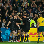 Ma'a Nonu, New Zealand, is congratulated after scoring a try during the New Zealand V Australia Semi Final match at the IRB Rugby World Cup tournament, Eden Park, Auckland, New Zealand, 16th October 2011. Photo Tim Clayton...