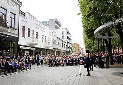 June 15, 2018 - LITHUANIA - 15-06-2018 Vilnius King Willem-Alexander with president Dalia Grybauskaite during the unveiling of the light monument of Edith and Rob Zwartendijk during on the last day of the 5 day statevisit to the Baltic state Lithuania. (Credit Image: © face to face via ZUMA Press)