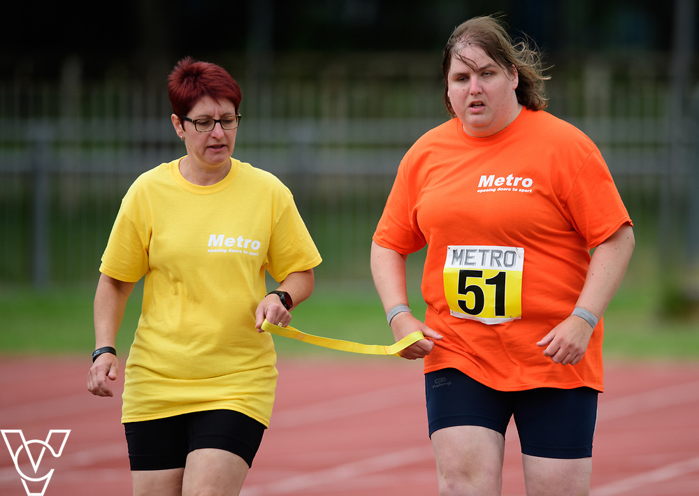 Event: 200 meters<br /> Competitors, from left: Becky King<br /> <br /> Metro Blind Sport's 42nd Athletics Open, held at Mile End Stadium, Tower Hamlets, London.<br /> <br /> Picture: Chris Vaughan Photography for Metro Blind Sports<br /> Date: June 16, 2018