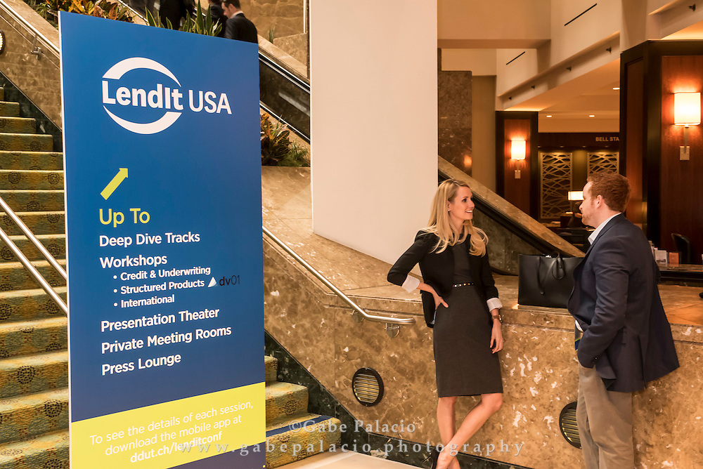 Networking at LendIt USA 2016 conference in San Francisco, California, USA on April 11, 2016. (photo by Gabe Palacio)