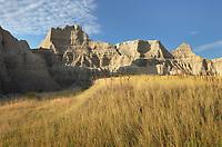 Badlands formations and mixed grass prairie grasses. Badlands National Park South Dakota