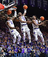 MANHATTAN, KS - FEBRUARY 05:  Cartier Diarra #2 of the Kansas State Wildcats drives to the basket for a dunk against the Kansas Jayhawks during the second half at Bramlage Coliseum in Manhattan, Kansas.