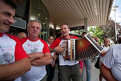 Fans during reception of Slovenian Olympic team, on August 10, 2012 in Airport Joze Pucnik, Brnik, Slovenia.  (Photo by Matic Klansek Velej / Sportida)
