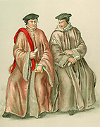 Judges in their robes during the time of Elizabeth I.16th century.