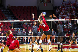 BLOOMINGTON, IL - September 28: Taylor Lynch during a college Women's volleyball match between the ISU Redbirds and the Southern Illinois Salukis on September 28 2019 at Illinois State University in Normal, IL. (Photo by Alan Look)