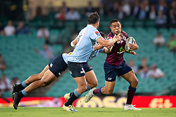 March 9, 2019 - Sydney, NSW, U.S. - SYDNEY, NSW - MARCH 09: Reds player Duncan Paia'aua (12) tackled by Waratahs player Karmichael Hunt (12) at round 4 of Super Rugby between NSW Waratahs and Queensland Reds on March 09, 2019 at The Sydney Cricket Ground, NSW. (Photo by Speed Media/Icon Sportswire) (Credit Image: © Speed Media/Icon SMI via ZUMA Press)