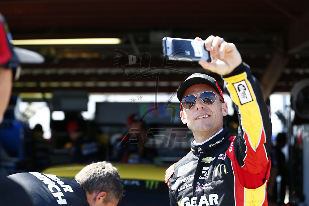 April 28, 2017 - Richmond, Virginia, USA: Jamie McMurray (1) hangs out in the garage during practice for the Toyota Owners 400 at Richmond International Speedway in Richmond, Virginia.