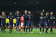 Paris Saint Germain team players applaud the Paris Saint Germain away fans after full time. UEFA Champions league group A match, Arsenal v Paris Saint Germain at the Emirates Stadium in London on Wednesday 23rd November 2016.<br /> pic by John Patrick Fletcher, Andrew Orchard sports photography.