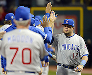 CLEVELAND, OH - OCTOBER 25: Kyle Schwarber #12 of the Chicago Cubs greets teammates on the field before the start of Game 1 of the 2016 World Series against the Cleveland Indians at Progressive Field on Tuesday, October 25, 2016 in Cleveland, Ohio. (Photo by Ron Vesely/MLB Photos via Getty Images)