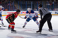 PENTICTON, CANADA - SEPTEMBER 8: Chad Butcher #65 of Edmonton Oilers faces off against Dillon Dube #59 ofthe Calgary Flames on September 8, 2017 at the South Okanagan Event Centre in Penticton, British Columbia, Canada.  (Photo by Marissa Baecker/Shoot the Breeze)  *** Local Caption ***