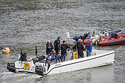 "Putney, London,  Tideway Week, Championship Course. River Thames, Umpires Launch, ""Ecocat"" OUBC VS CUBC, Veterans Boat Race. <br /> <br />  Saturday  01/04/2017<br /> <br /> [Mandatory Credit; Credit: Peter SPURRIER/Intersport Images.com ]"