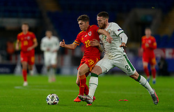 CARDIFF, WALES - Sunday, November 15, 2020: Wales' Daniel James (L) gets away from Republic of Ireland's Matt Doherty during the UEFA Nations League Group Stage League B Group 4 match between Wales and Republic of Ireland at the Cardiff City Stadium. Wales won 1-0. (Pic by David Rawcliffe/Propaganda)