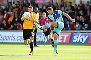 Adam El-Abd of Wycombe Wanderers clears from Padraig Amond of Newport county (l). EFL Skybet football league two match, Newport county v Wycombe Wanderers at Rodney Parade in Newport, South Wales on Saturday 9th September 2017.<br /> pic by Andrew Orchard, Andrew Orchard sports photography.
