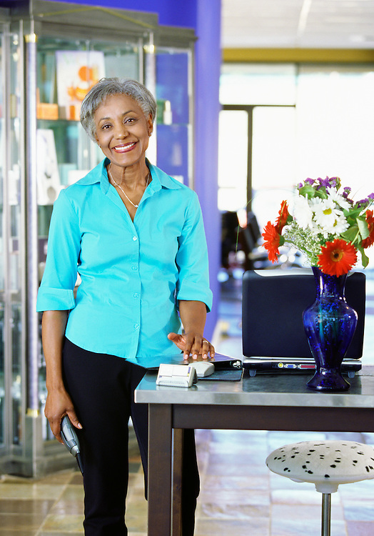 Portrait of an African American professional woman in her 50's.