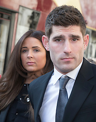 © Licensed to London News Pictures. 22/03/2016. London, UK. Footballer Ched Evans and his girlfriend Natasha Massey arrive at The Royal Courts of Justice to attend an appeal hearing for his rape conviction.  Photo credit: Peter Macdiarmid/LNP