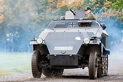 Panzer Grenadiers in a Sd.Kfz. 251 Auf C halftrck Hanomag of the Großdeutschland Panzer Grenadier Division at the Pickering Showground Day 2<br /> 14 October 2012<br /> Image © Paul David Drabble