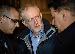 © Licensed to London News Pictures. 04/12/2015. London, UK. JEREMY CORBYN speaking to people attending an anti-Islamophobia rally and protest against racism and anti-muslim hate crime, outside the Finsbury Park Mosque in north London. The rally, organised by Finsbury Park Mosque, Stand Up To Racism and Stop The War Coalition follows an attempted arson attack on Finsbury Park Mosque last week and was attended by Labour Party leader and local MP for Islington North, Jeremy Corbyn. Photo credit : Vickie Flores/LNP