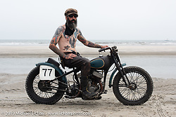 Josh Kohn of Jugtown Mountain, NJ on his 1942 Harley-Davidson 45 inch Beach Racer (mixed parts & years) at TROG (The Race Of Gentlemen) in Wildwood, NJ. USA. Sunday June 10, 2018. Photography ©2018 Michael Lichter.
