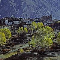 NEPAL, HIMALAYA.  Ancient fortress village of Jarkot, in rainshadowed mountains near Muktinath, north of Annapurna.