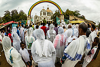 Ethiopians praying at St. Gebriel Orthodox Church  (Ethiopian Orthodox Church) during Meskel celebration, Arba Minch, Ethiopia. Meskel commemorates the discovery of the True Cross by the Roman Empress Helena in the fourth century.