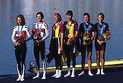 Sydney, AUSTRALIA, LW2X medal ceremony Left to right,  Silver medallsit GER LW2X BLASBERG, Claudia / VIEHOFF, Valerie, centre Gold medallist ROM LW2X,   BURCICA, Constanta / TAMAS, Angela and USA LW2X  bronze medallist,  COLLINS, Christine / GARNER, Sarah at the 2000 Olympic Regatta, Penrith Lakes. [Photo Peter Spurrier/Intersport Images] 2000 Olympic Regatta Sydney International Regatta Centre (SIRC) 2000 Olympic Rowing Regatta00085138.tif