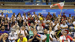 September 12, 2018 - Varna, Bulgaria - Iranian spectators joy over winning a point.FIVB Volleyball Men's World Championship 2018, pool D, Iran vs Puerto Rico,. Palace of Culture and Sport, Varna/Bulgaria, .the teams of Finland, Cuba, Puerto Rico, Poland, Iran and co-host Bulgaria are playing in pool D in the preliminary round. (Credit Image: © Wolfgang Fehrmann/ZUMA Wire)