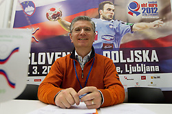 Franjo Bobinac, president of RZS during meeting of RZS - Handball federation of Slovenia, on March 9, 2011 in SRC Stozice, Ljubljana, Slovenia. (Photo By Vid Ponikvar / Sportida.com)