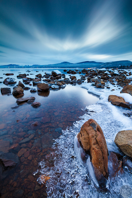 """""""Icy Tahoe Shoreline"""" - Photograph of any icy frozen shoreline in Kings Beach, Lake Tahoe. Shot just after sunset."""