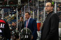 KELOWNA, CANADA - DECEMBER 5: Kelowna Rockets' head coach Adam Foote stands on the bench against the Tri-City Americans  on December 5, 2018 at Prospera Place in Kelowna, British Columbia, Canada.  (Photo by Marissa Baecker/Shoot the Breeze)