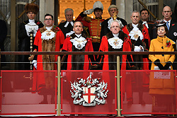 The new Lord Mayor of London Charles Bowman (front left) observes a minute's silence at Guildhall in London, ahead of the Lord Mayor's parade.