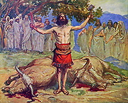SAUL SACRIFICES THE OXEN. I Samuel xi. 7. And he took a yoke of oxen, and hewed them in pieces, and sent them throughout all the coasts of Israel by the hands of messengers, saying, Whosoever cometh not forth after Saul and after Samuel, so shall it be done unto his oxen From the book ' The Old Testament : three hundred and ninety-six compositions illustrating the Old Testament ' Part II by J. James Tissot Published by M. de Brunoff in Paris, London and New York in 1904