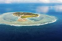 Aerial view of Lady Elliot Island & its fringing reef, Great Barrier Reef, Queensland, Australia